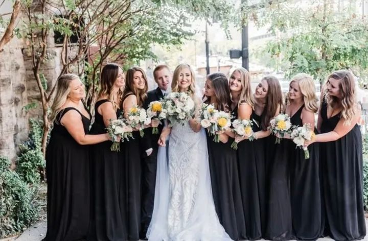 """The bridal party entered the reception to the """"Crazy in Love."""""""