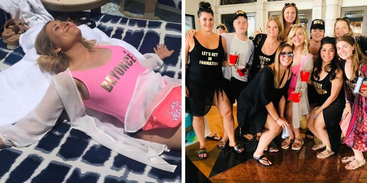 Allie and her bridesmaids in their Bey swimsuits.