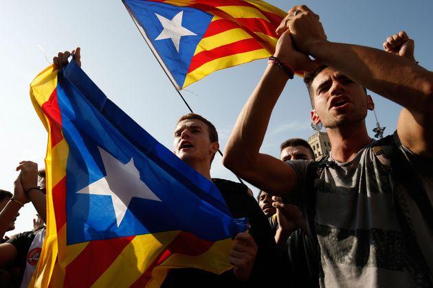 Independentistas movilizados este lunes tras conocerse la sentencia del Tribunal