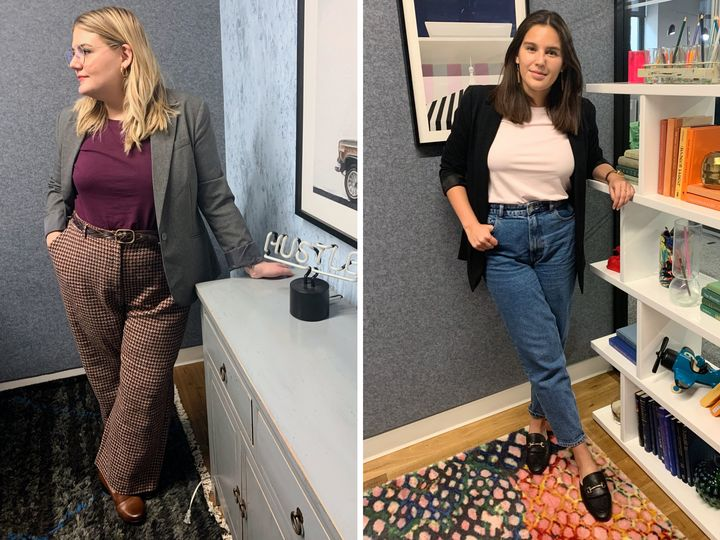 Brittany and Danielle were both a little out of their comfort zones when they paired a T-shirt with a business casual look.