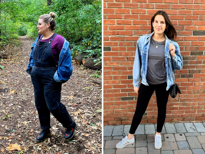 Brittany and Danielle sporting comfy weekend outfits.