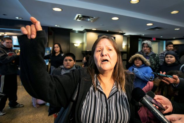 Margaret Missyabit from Lake Manitoba First Nations waits to be relocated after she was evacuated due...