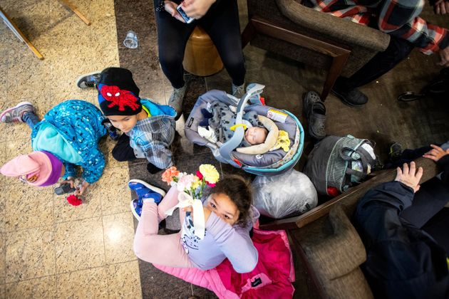People from Lake Manitoba First Nations wait to be relocated after they were evacuated due to snowstorm...