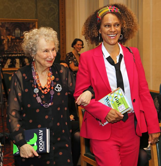 Joint winners Margaret Atwood and Bernardine Evaristo attend The 2019 Booker Prize Winner Announcement...
