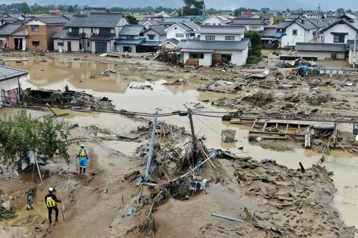 A flooded area in Nagano, central Japan, following Typhoon Hagibis.