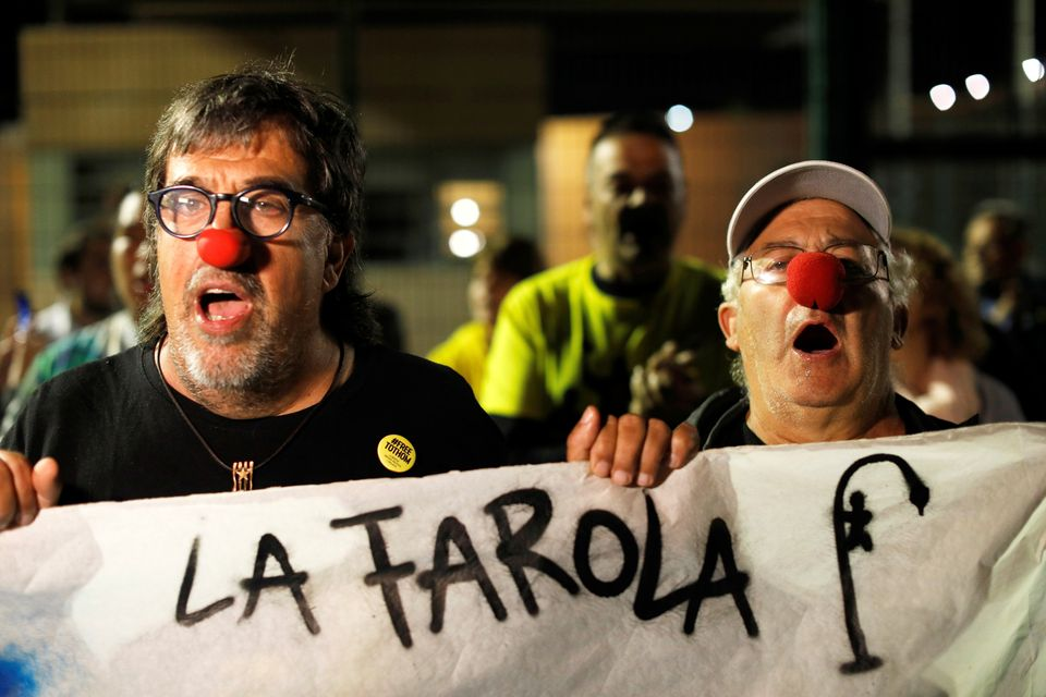 Protesters gather outside Lledoners jail in support of the jailed Catalan separatist leaders, in Sant...