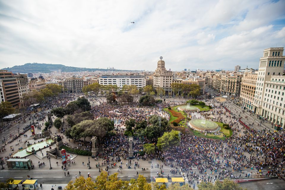 Placa Catalunya of Barcelona full of protesters during a protest following the sentencing of nine Catalan...