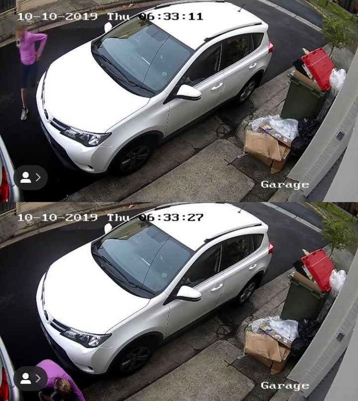 In one clip the blonde woman was seen squatting in between two parked cars on Watson Street in the inner-eastern Sydney suburb, Paddington.