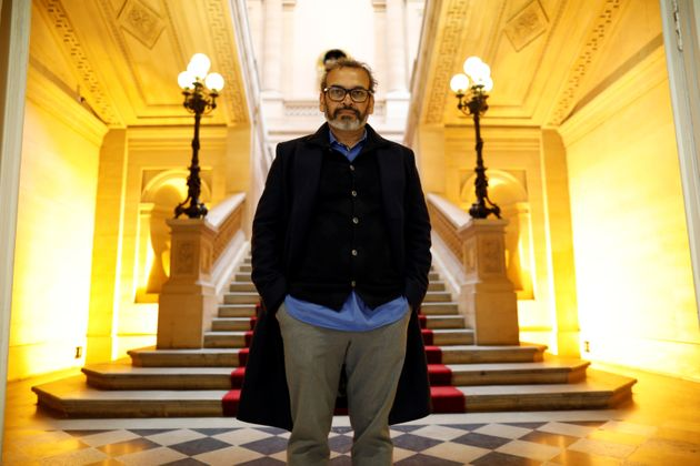 Indian contemporary artist Subodh Gupta poses before the opening of his retrospective exhibition Adda/Rendez-vous...