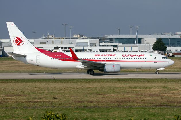 ORLY AIRPORT, PARIS, FRANCE - 2018/02/18: Air Algerie Boeing 737-800 on the runway at Paris Orly airport....