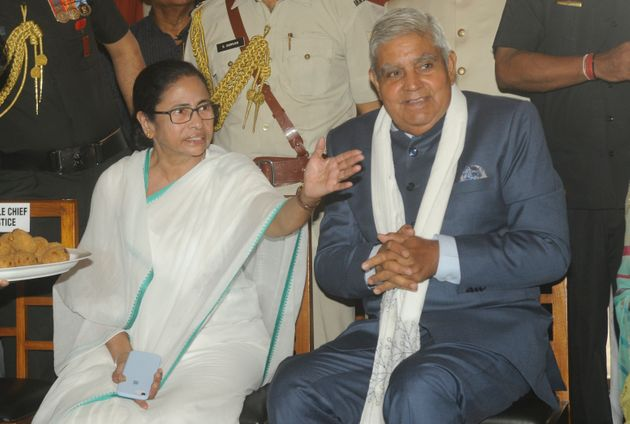 Chief Minister of West Bengal Mamata Banerjee with Governor Jagdeep Dhankhar in a file