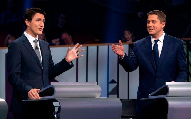 Justin Trudeau et Andrew Scheer lors du dernier débat des