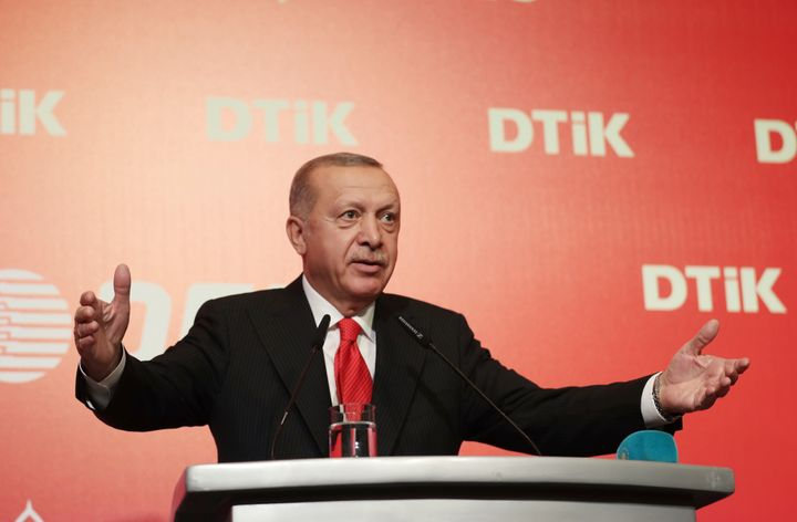 Turkey's President Recep Tayyip Erdogan addresses the World Turkish Business Council meeting, in Baku, Azerbaijan, Monday. Oc