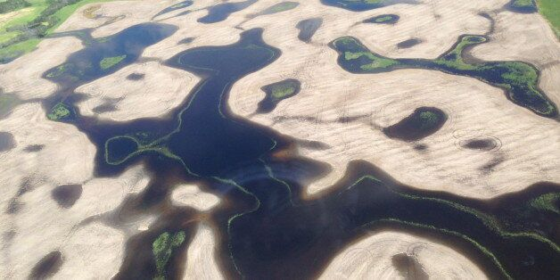 An aerial view of the flooding about ten miles north of Alida, in southeast Saskatchewan, is shown on...