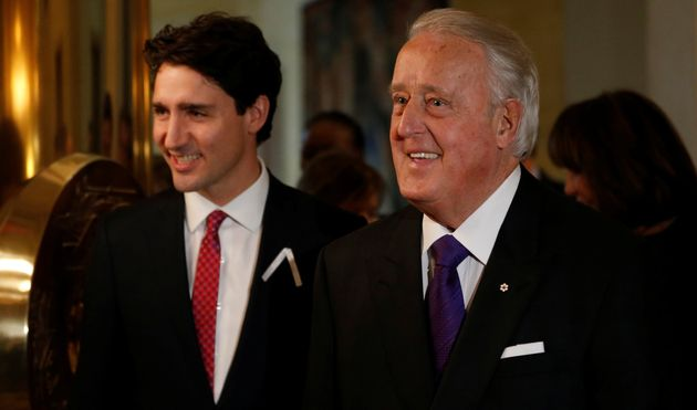 Former Canadian Prime Minister Brian Mulroney (right) and Prime Minister Justin Trudeau at a ceremony...