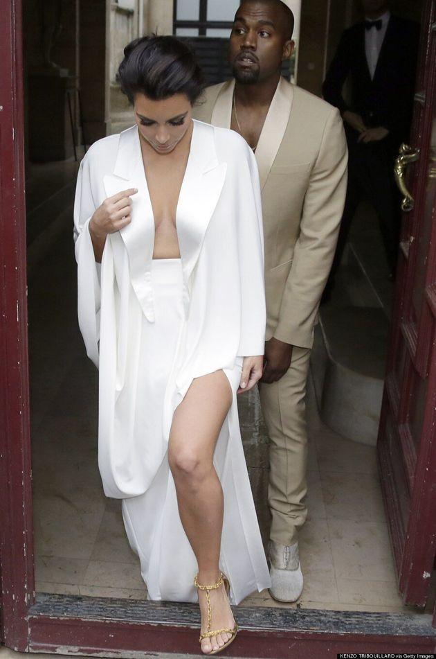 Kim Kardashian Wears Plunging Dress Day Before