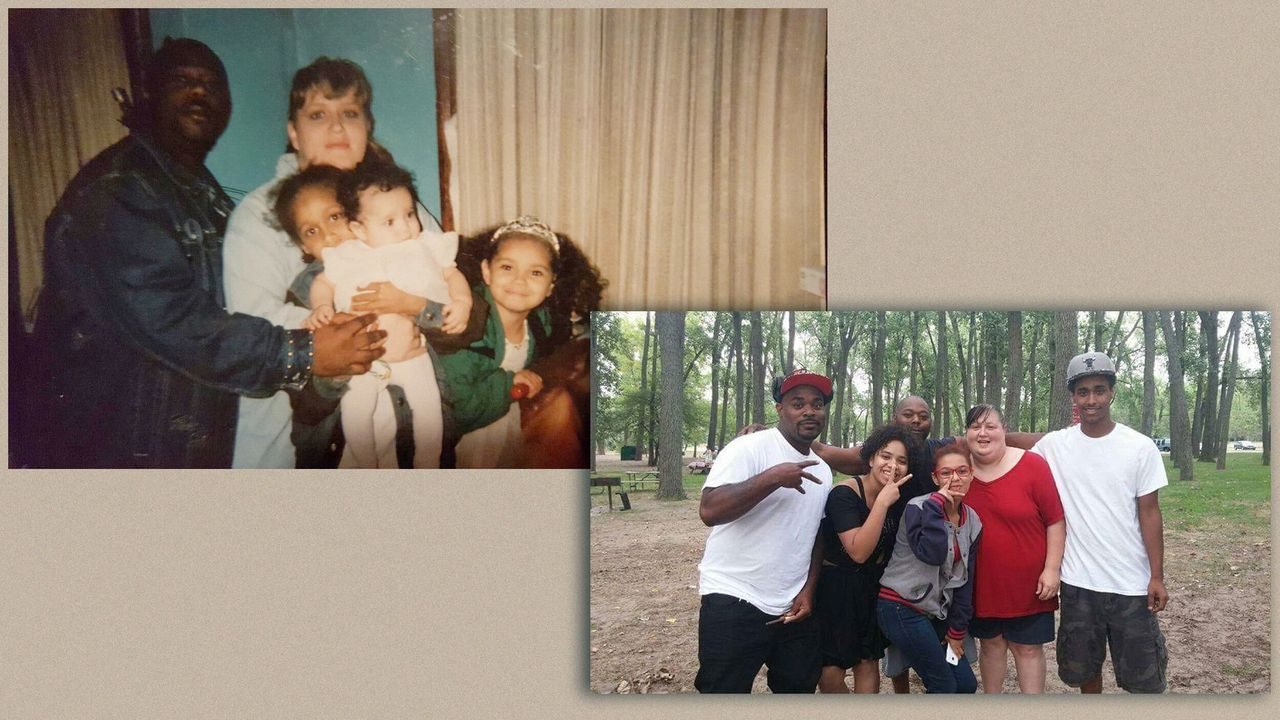 On left, Bresha (baby in center) is pictured with her mother, father and two siblings. On right, Bresha (in black) poses with her family. To her left is Ja'Von, her cousin, who also went public with his allegations of abuse at the hands of Jonathan Meadows.