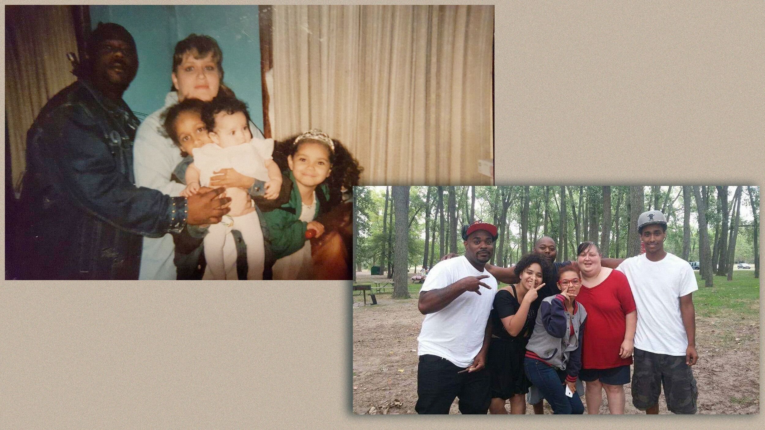On left, Bresha (baby in center) is pictured with her mother, father and two siblings. On right, Bresha (in black) poses with
