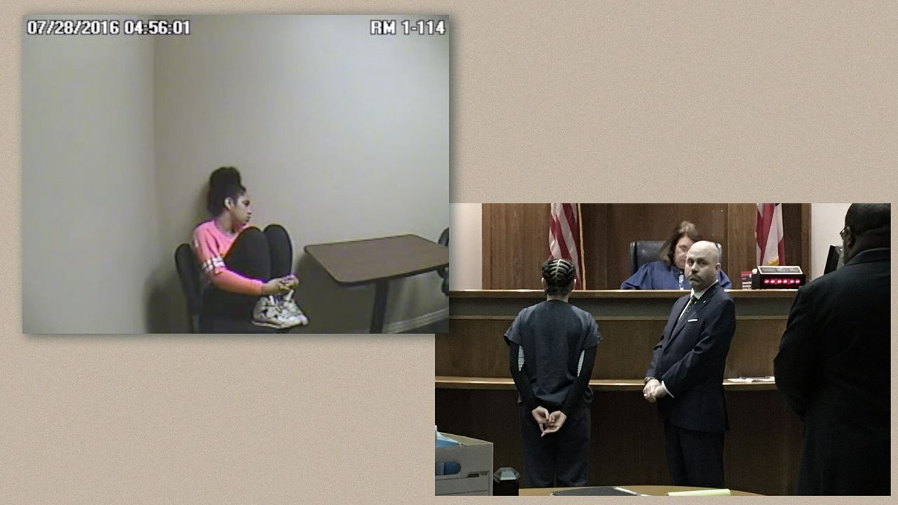 On left, Bresha is seen inside the Warren Police Department a few hours after the shooting. On right, she appears at one of her many hearings at the Trumbull County Family Court.