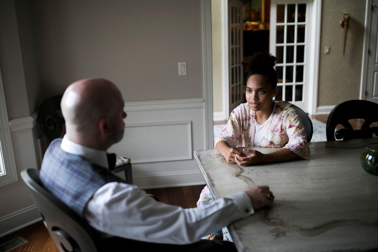 Bresha Meadows talks with her lawyer, Ian Friedman.