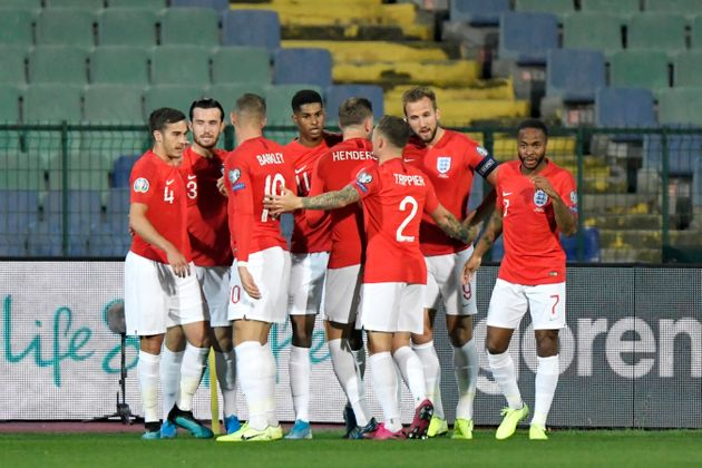 England players at the Euro 2020 qualifier in Sofia on Monday