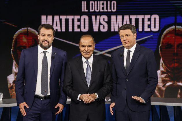 """Duello tv Salvini-Renzi: """"Tu al 4%, io al 33%""""...""""Tu da 27 anni in politica, zero risultati"""""""