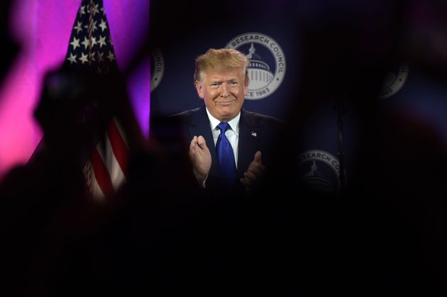 U.S. President Donald Trump speaks at the Values Voter Summit on Oct. 12, 2019, in Washington,
