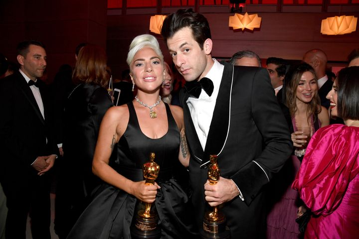 Ronson and Lady Gaga pose with the Academy Award for Best Original Song on Feb. 24, 2019, in Beverly Hills, California.