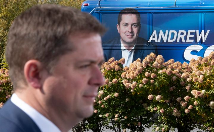 Conservative Leader Andrew Scheer makes an announcement near the campaign bus during a campaign stop in Quebec City on Oct. 15, 2019.