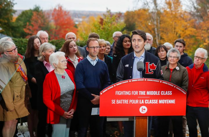 Liberal Leader Justin Trudeau attends an election campaign visit to Fredericton on Oct. 15, 2019.