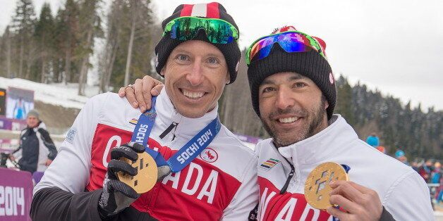 Chris Klebl with his Men's 10km Sitting gold medal and Brian McKeever with his 15km free Visually Impaired...