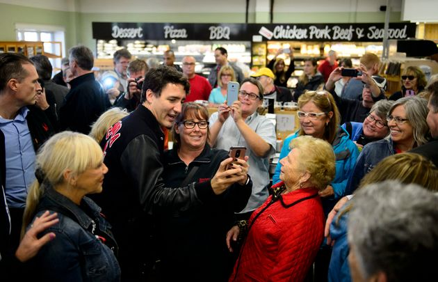 Liberal leader Justin Trudeau makes a campaign stop at Masstown Market in Debert, N.S., on Tuesday Oct....