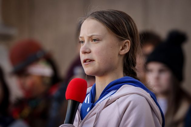 Greta Thunberg speaks at the Fridays For Future Denver Climate Strike on Oct. 11, 2019 in Denver,