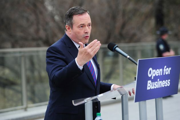 Jason Kenney in front of the Legislature Building in Edmonton on Apr. 17,