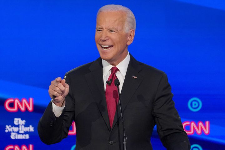 Democratic presidential candidate and former Vice President Joe Biden speaks during the fourth Democratic presidential candid