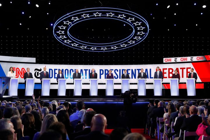 Democratic presidential candidates onstage at Tuesday's Democratic presidential primary debate hosted by CNN and The New York