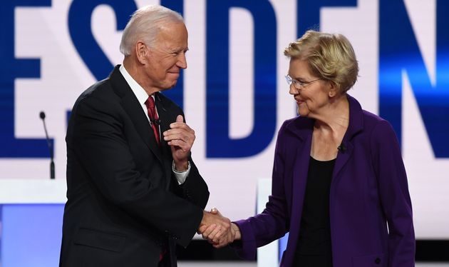 Former Vice President Joe Biden and Sen. Elizabeth Warren shake hands ahead of the fourth Democratic...