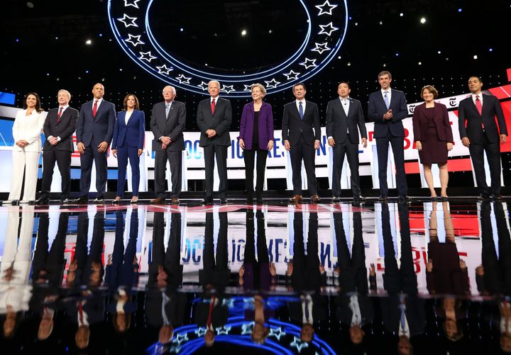 The 12 Democratic presidential candidates on stage Tuesday at the debate included four women, Rep. Tulsi Gabbard, Sen. Kamala