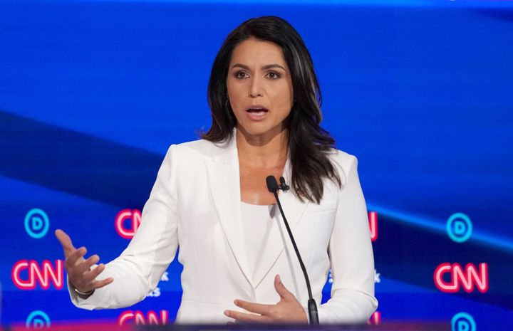 Democratic presidential candidate Tulsi Gabbard speaks during Tuesday's debate in Westerville, Ohio.