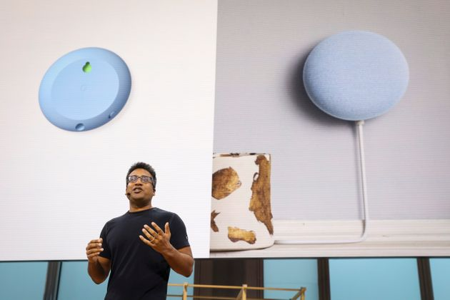NEW YORK, NY - OCTOBER 15: Rishi Chandra, general manager of Google Nest products, discusses the new...