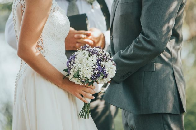 Bride and groom close up saying their