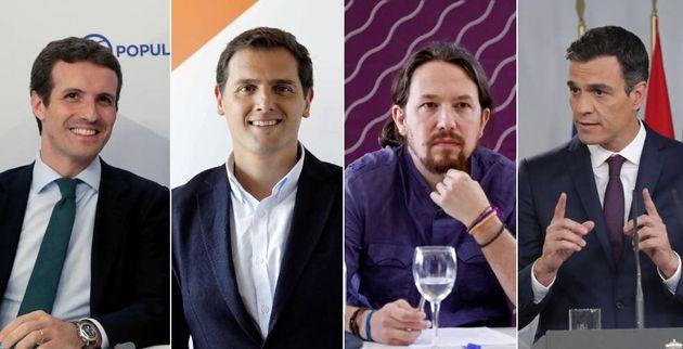 Los líderes del PP, Pablo Casado, de Cs, Albert Rivera, de Podemos, Pablo Iglesias, y del PSOE, Pedro