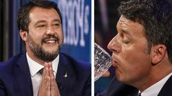 """""""Ma c'è acqua o altro in quel bicchiere"""". Renzi risponde a Salvini: """"E tu parli di alcol? Meno"""