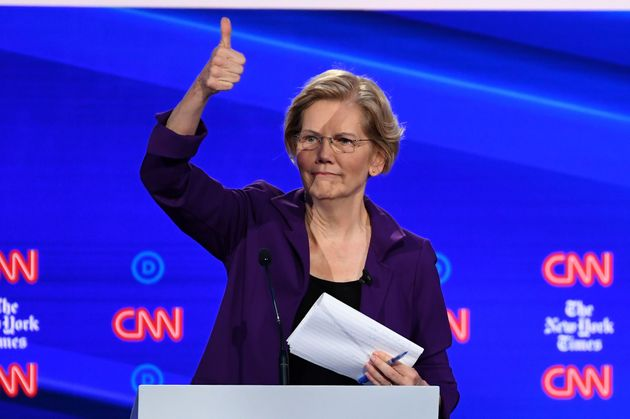 Democratic presidential hopeful Massachusetts Senator Elizabeth Warren gestures during the fourth Democratic...