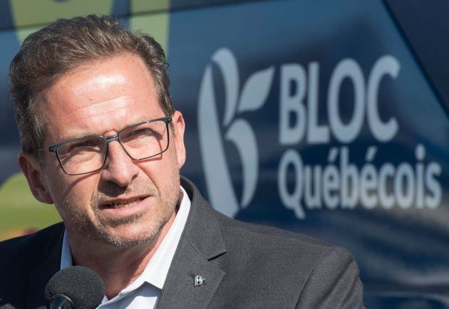 Bloc Quebecois Leader Yves-François Blanchet speaks to reporters during a federal election campaign...