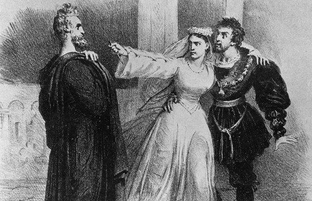 Illustration d'Hernani, Dona Sol et Don Ruy Gomez dans le cinquième acte de l'oeuvre de Victor