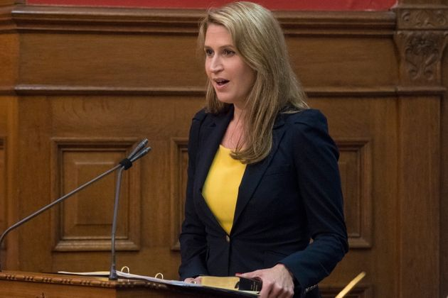 Caroline Mulroney is sworn in as Ontario's Minister of Transportation at Queen's Park in Toronto on June...