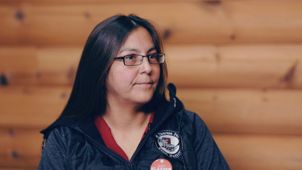 Judy Klassen, the Liberal candidate in Churchill-Keewatinook Aski, is shown on Nelson House on Aug. 20,