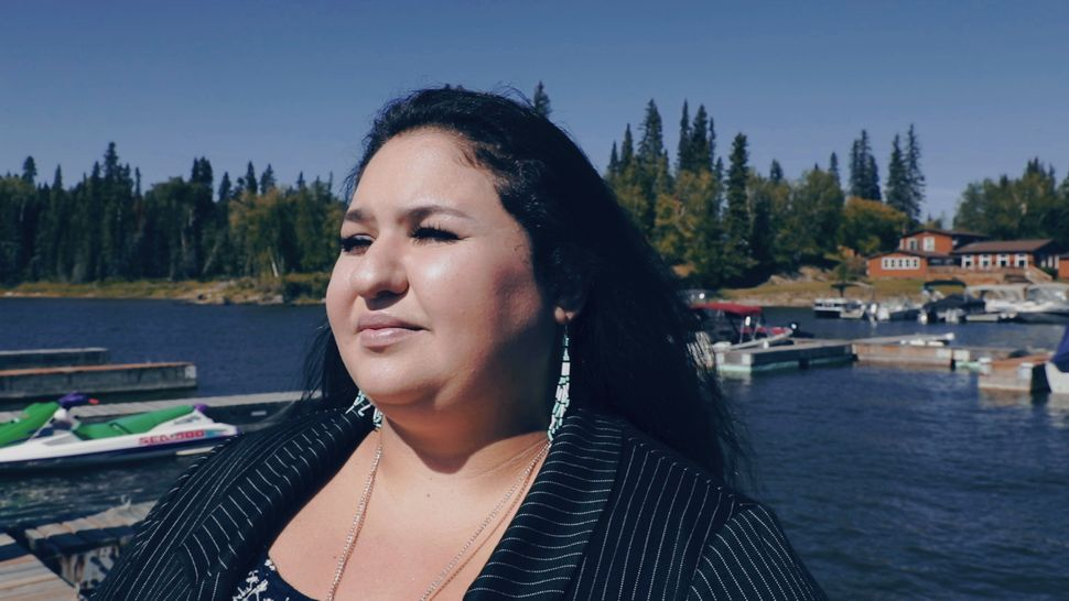 Cyara Bird, the Conservative candidate in Churchill-Keewatinook Aski, is shown at Paint Lake Provincial...