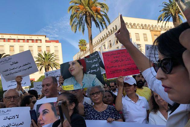 Protesta ante el Parlamento de Rabat, el pasado 2 de octubre, pidiendo la liberación deHayar